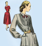 1940s Vintage Simplicity Sewing Pattern 2285 Uncut Misses Tucked Dress Size 34 B