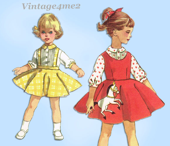 1950s Vintage Simplicity Sewing Pattern 2287 Baby Girls Skirt & Blouse Size 1