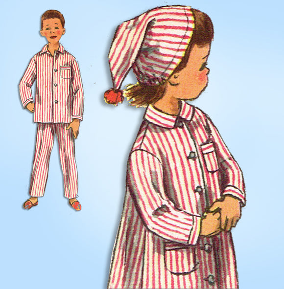 1950s Vintage Simplicity Sewing Pattern 2288 Toddlers Nightshirt Pjs & Cap Sz 6