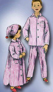 1950s Vintage Simplicity Sewing Pattern 2288 Toddlers Nightshirt Pjs & Cap Sz 4