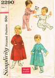 1950s Vintage Simplicity Sewing Pattern 2290 Easy Baby Girls Pajamas & Robe Sz 1