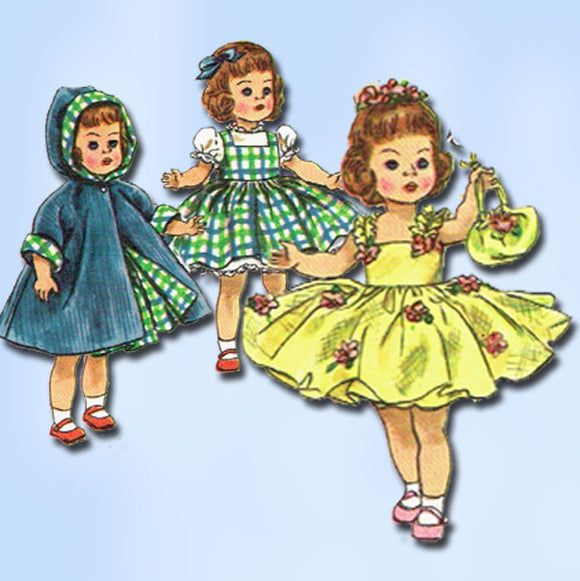 1950s Vintage Simplicity Sewing Pattern 2294 8 Inch Ginny Doll Clothes ORIG