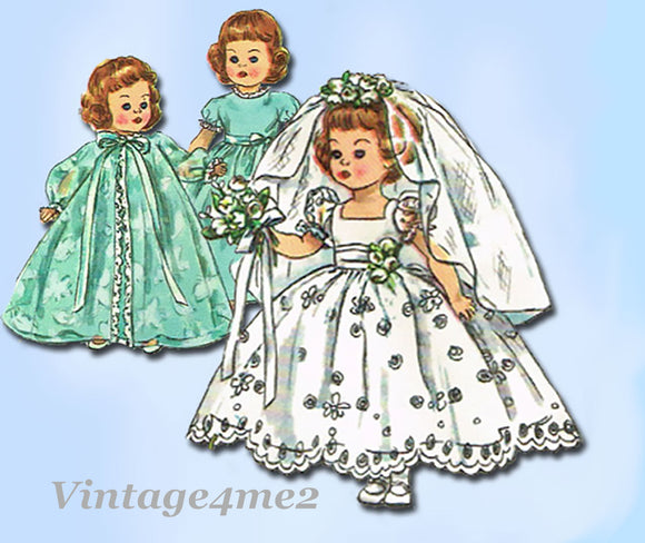 1950s Vintage Simplicity Sewing Pattern 2294 10 1/2 Inch Toddler Doll Clothes