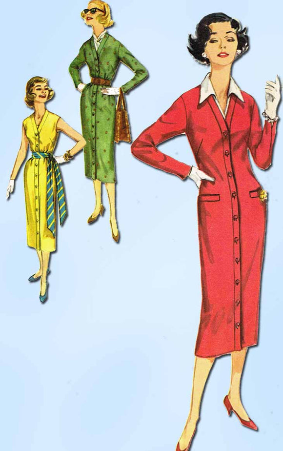 1950s Vintage Simplicity Sewing Pattern 2298 Misses Slender Dress Size 13 33 B