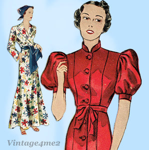 Simplicity 2299: 1930s Rare Misses Housecoat Sz 38 Bust Vintage Sewing Pattern