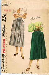 1940s Vintage Simplicity Sewing Pattern 2305 Easy Misses Day Skirt Size 26 Waist