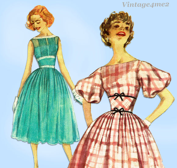 1950s Vintage Simplicity Sewing Pattern 2332 Misses Party Dress Size 32 Bust