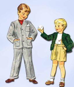 1940s Vintage Simplicity Sewing Pattern 2334 Boys Suit w Shorts or Pants Sz 4