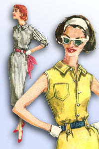 1950s Vintage Simplicity Sewing Pattern 2340 Uncut Misses Sun Dress Size 31.5 B - Vintage4me2