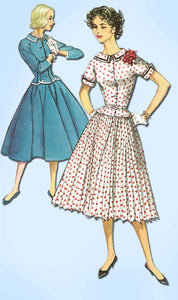 1950s Vintage Simplicity Sewing Pattern 2343 Uncut Misses 2 Piece Dress Size 12