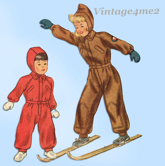 1940s Vintage Simplicity Sewing Pattern 2346 Cute Toddler Girls Snowsuit Sz 2