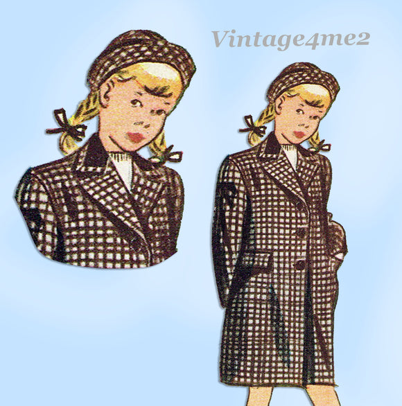 1940s Vintage Simplicity Sewing Pattern 2353 Uncut Girls Coat & Hat Size 8