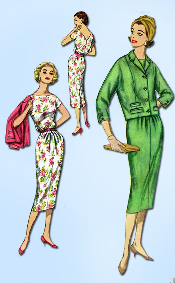 1950s Vintage Simplicity Sewing Pattern 2369 Uncut Misses Dress and Jacket 34B