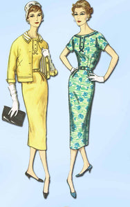 1950s Vintage Simplicity Sewing Pattern 2372 Uncut Misses Dress and Jacket Sz 14