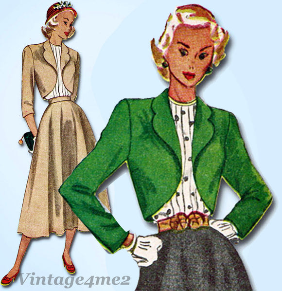 1940s Vintage Simplicity Sewing Pattern 2372 Misses Suit and Tucked Blouse 32B - Vintage4me2