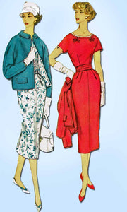 1950s Vintage Simplicity Sewing Pattern 2387 Uncut Misses Wiggle Dress Size 35 B