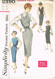 1950s Vintage Simplicity Sewing Pattern 2390 Easy Uncut Belted Sheath Dress 33B