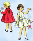 1950s Vintage Simplicity Sewing Pattern 2398 Toddler Girls Dress & Coat Size 5