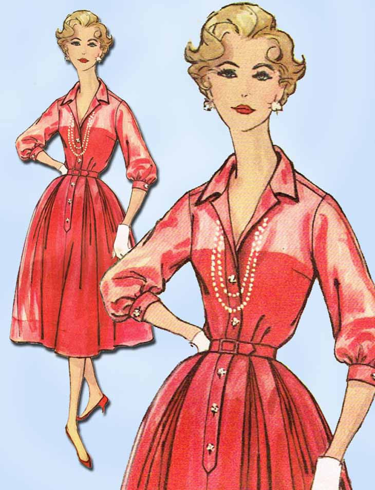 1950s Original Vintage Simplicity Pattern 2412 Uncut Misses Rockabilly Dress Sz 14