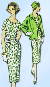 1950s Vintage Simplicity Sewing Pattern 2424 Uncut Misses Dress and Coat Sz 33 B