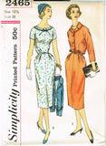 1950s Vintage Simplicity Sewing Pattern 2465 Uncut Misses Dress & Jacket Sz 33 B