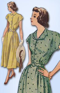 1940s Vintage Simplicity Sewing Pattern 2473 Misses Scalloped Dress Sz 36 B - Vintage4me2