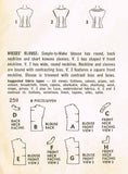 1950s Vintage Simplicity Sewing Pattern 2511 Easy Uncut Misses Blouse Size 34 B