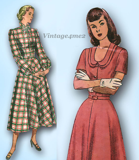 1940s Vintage Simplicity Sewing Pattern 2523 MIsses Day Dress Size 30 Bust