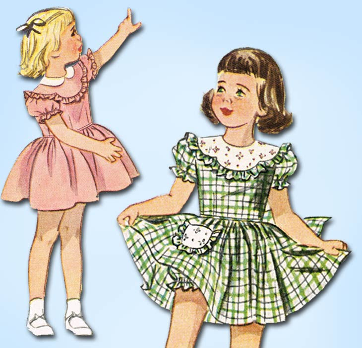1940s Vintage Simplicity Sewing Pattern 2529 Toddler Girls Scalloped Dress Sz 2