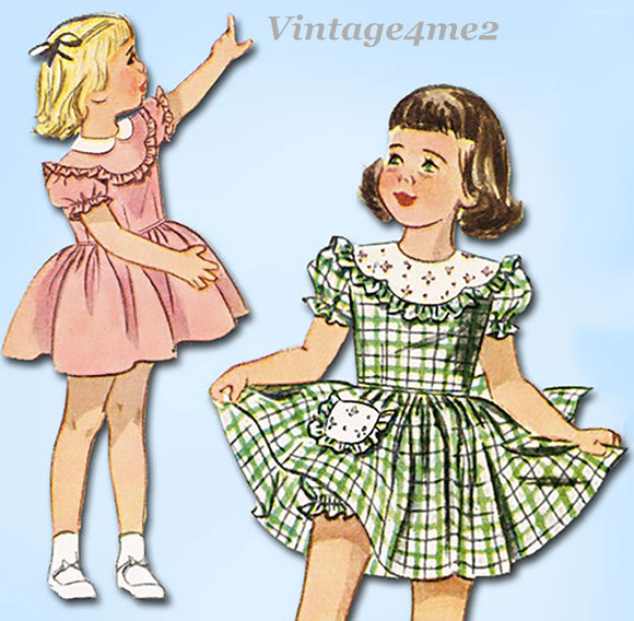 1940s Vintage Simplicity Sewing Pattern 2529 Toddler Girls Scalloped Dress Sz 3