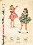 1940s Vintage Simplicity Sewing Pattern 2529 Baby Girls Scalloped Dress Size 1