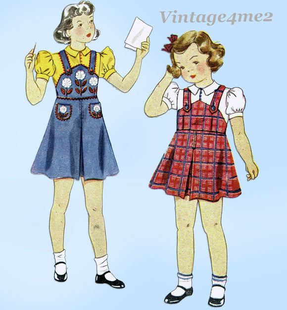 Simplicity 2530: 1930s Sweet Toddler Girls Flower Jumper Sz 4 VTG Sewing Pattern