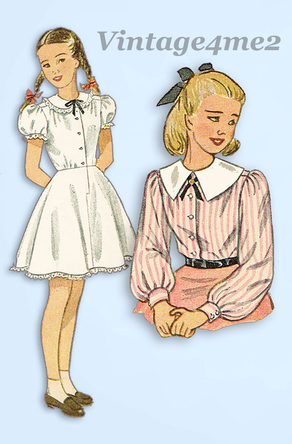 1940s Vintage Simplicity Sewing Pattern 2531 Girls Combination Blouse Slip Sz 7