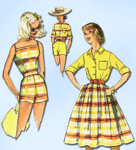 1950s Vintage Simplicity Sewing Pattern 2553 Uncut Misses Playsuit Set Sz 32 B -Vintage4me2