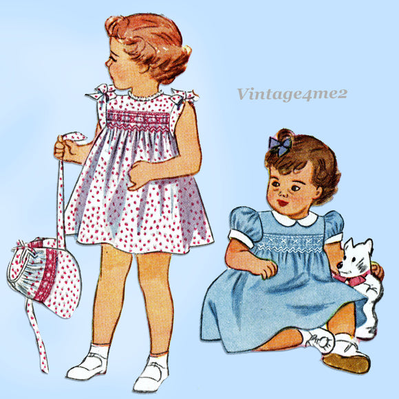1940s Vintage Simplicity Sewing Pattern 2553 Baby Girls Smocked Dress & Bonnet 1