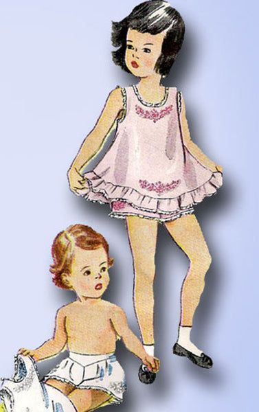 1940s Vintage Simplicity Sewing Pattern 2558 Toddler Girls Embroidered Slip Sz 3