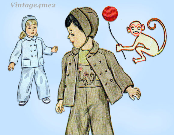 1940s Vintage Simplicity Sewing Pattern 2562 Toddler's Monkey Overalls & Jacket Sz 2