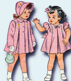 1940s Vintage Simplicity Sewing Pattern 2563 Baby Girls Dress Coat & Bonnet 6mos