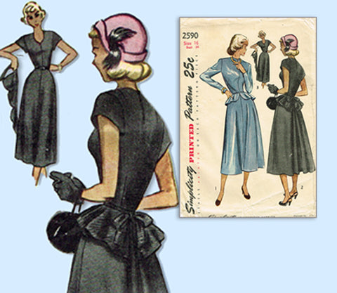 1940s Original Vintage Simplicity Sewing Pattern 2590 Misses Peplum Dress 34 B