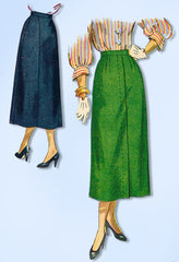1940s Original Vintage Simplicity Pattern 2624 Simple to Make Misses Skirt 26 W