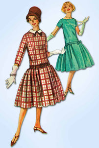 1950s Vintage Simplicity Sewing Pattern 2658 FF Misses Drop Waist Dress Size 34B