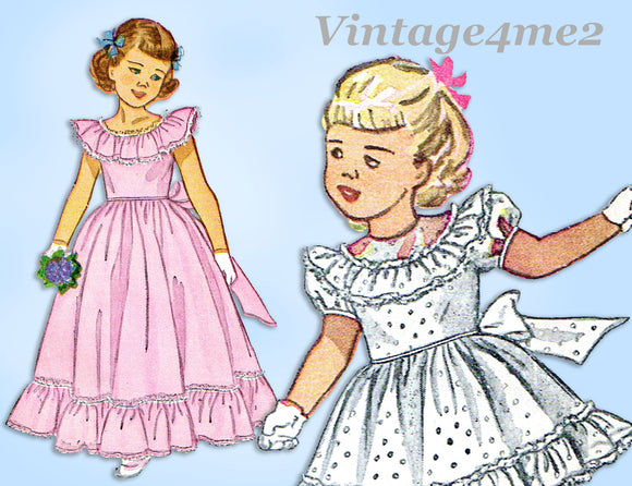 1940s Vintage Simplicity Sewing Pattern 2686 Sweet Toddler Girls Dress or Gown Sz 3