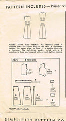 1940s Vintage Simplicity Sewing Pattern 2720 Easy Misses Skirt & Weskit Size 32B