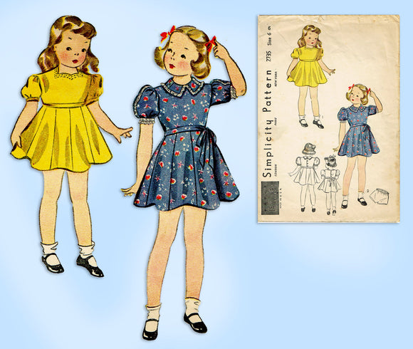 Simplicity Pattern 2735: 1930s Toddler Girls Dress Size 6 Vintage Sewing Pattern