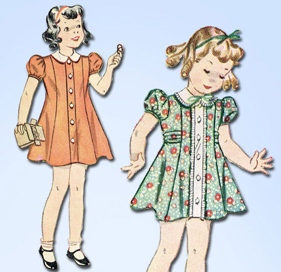 1940s Vintage Simplicity Sewing Pattern 2742 WWII Baby Girls Princess Dress Sz 1 vintage4me2