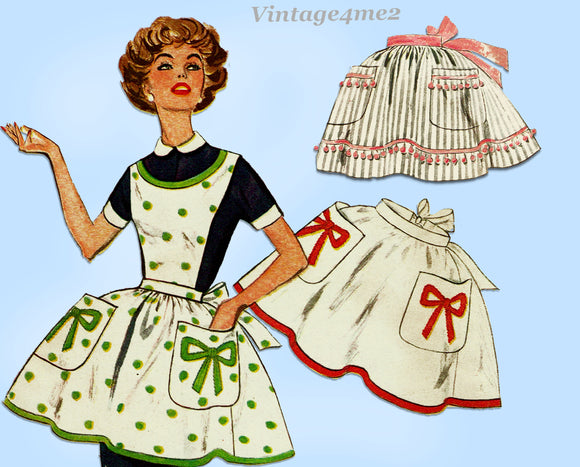 1950s Vintage Simplicity Sewing Pattern 2780 Misses Applique Apron Size Med