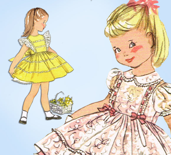 1950s Vintage Simplicity Sewing Pattern 2791 Toddler Girls Pinafore Dress Sz 2
