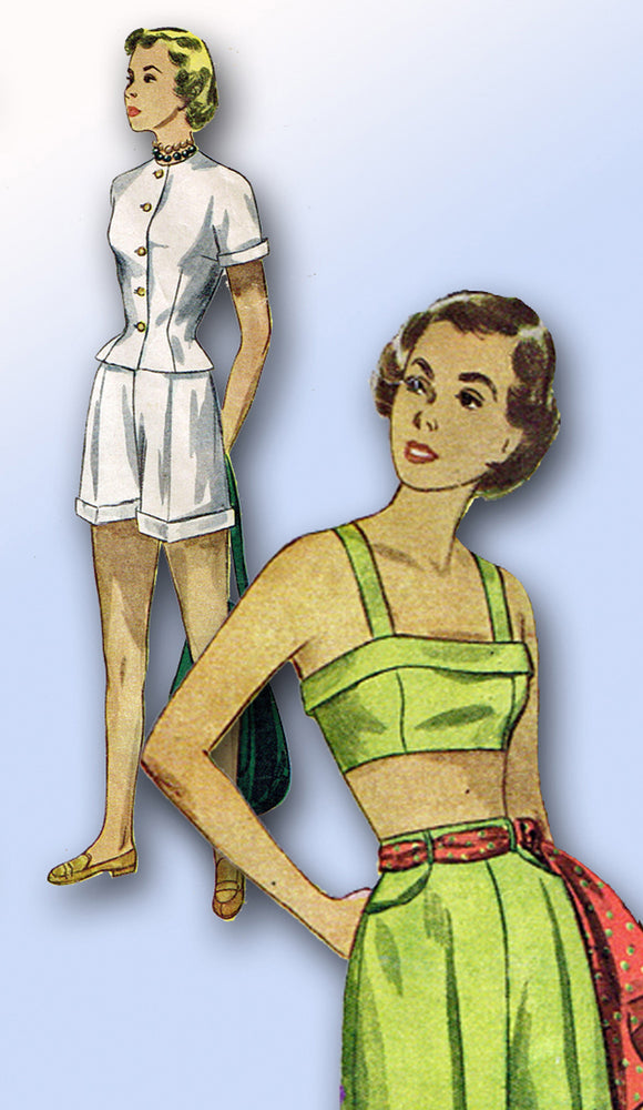 1940s Vintage Simplicity Sewing Pattern 2825 Misses Bra Top Shorts Jacket Sz 32B