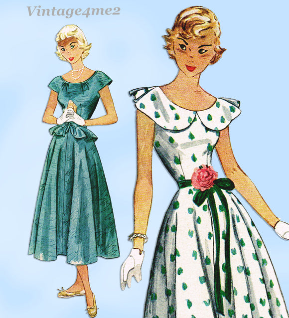 Simplicity 2840: 1940s Lovely Misses Easy Dress Size 30 B Vintage Sewing Pattern