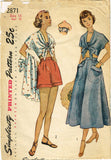 1940s Vintage Simplicity Sewing Pattern 2871 Misses Summer Play Clothes Size 34B
